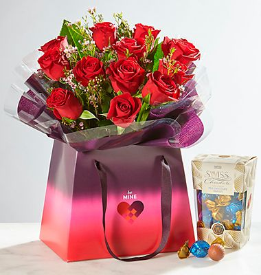 Free Swiss chocolates with Valentine's roses bag