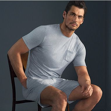 David Gandy in grey t-shirt and short pyjamas