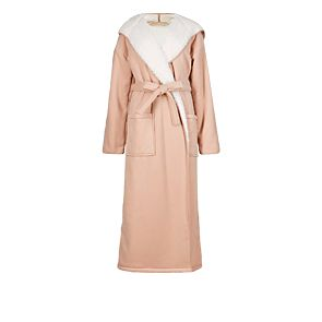 Double layered textured fleece dressing gown