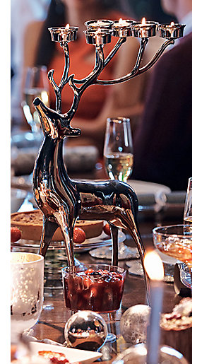 Silver stag candleholder