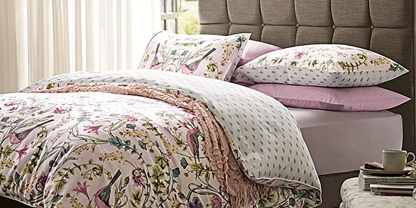 Floral bedding on a bed