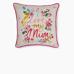 Colourful 'I love my mum' cushion