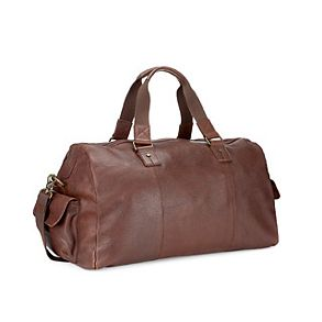 Brown mens leather holdall bag