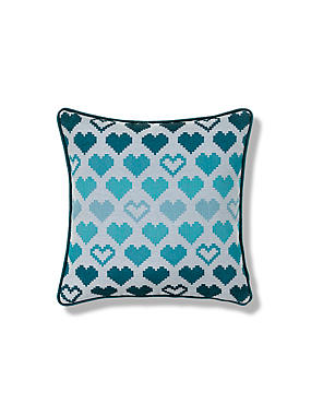 Blue Mix Love Hearts Cushion