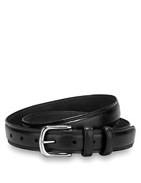 Black Leather Rectangular Buckle Chino Double Keeper Belt