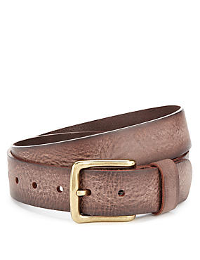 Brown Mix Leather Square Buckle Belt