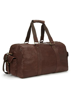 Brown Luxury Leather Holdall