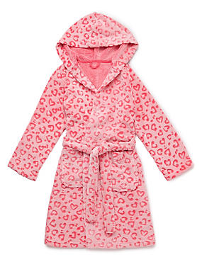 Pink Anti Bobble Heart Print Dressing Gown (6-16 Years)