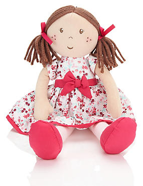 Brown Mix Small Brown Doll Red Dress