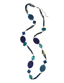 Blue Mix Blurred Resin Scarf Necklace