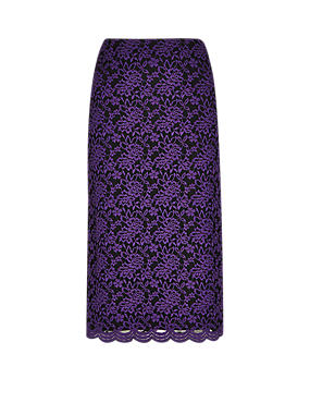 Purple Scallop Floral Lace Skirt