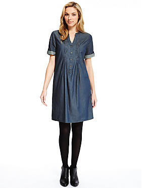 Denim Pure Cotton Pleated Front A-Line Dress