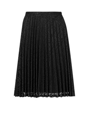Black Pleated Floral Lace Knee Length A-Line Skirt