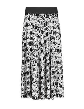Multi PLUS Scribble Print A-Line Skirt