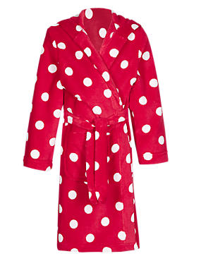 Red Mix Anti Bobble Spotted Christmas Dressing Gown (2-16 Years)