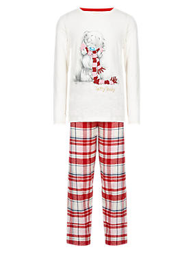 Red Mix Pure Cotton Stay Soft Tatty Teddy Woven Pyjamas (5-14 Years)