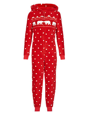 Red Mix Anti Bobble Hooded Fair Isle Onesie (6-16 Years)