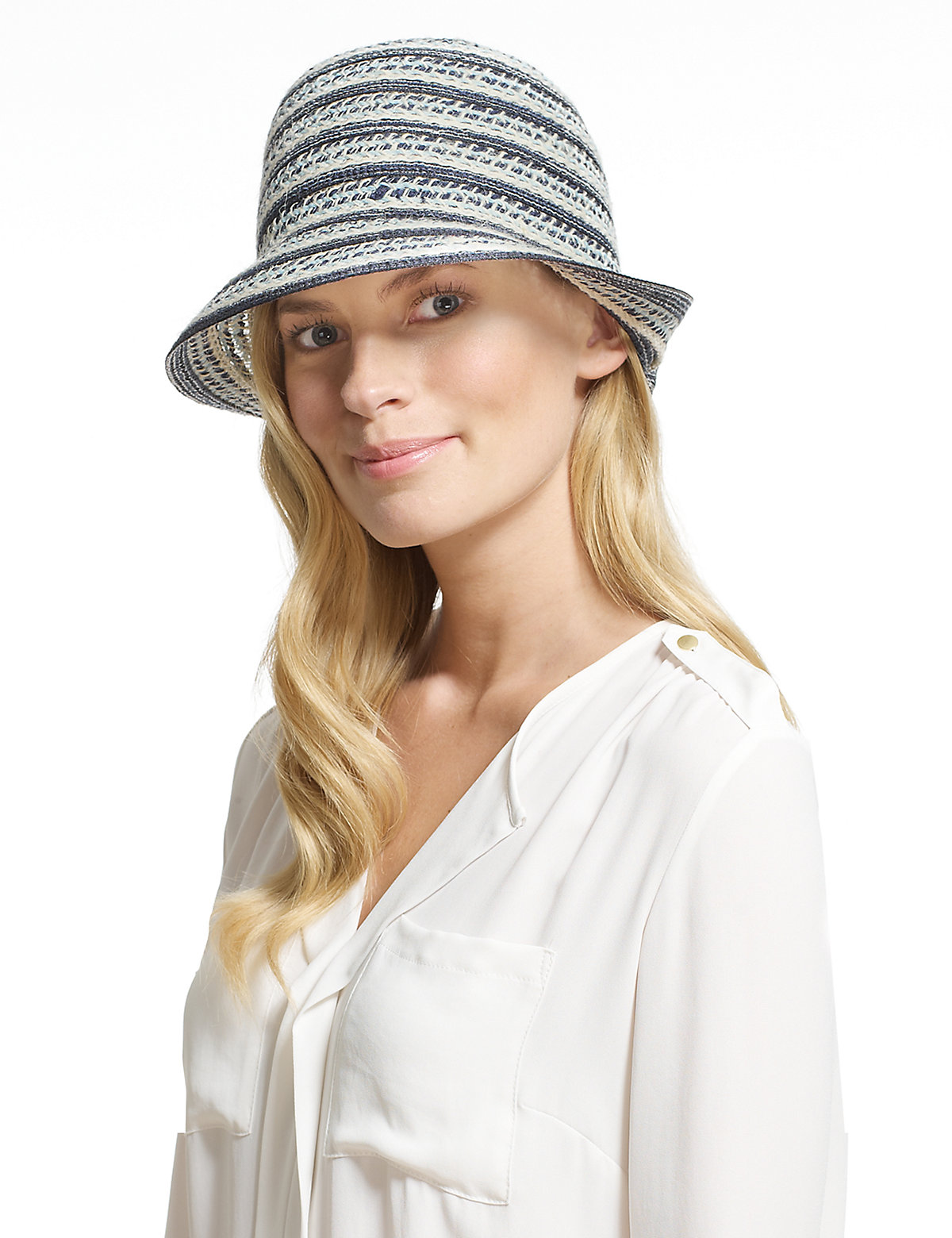M&S Collection Striped Cloche Hat