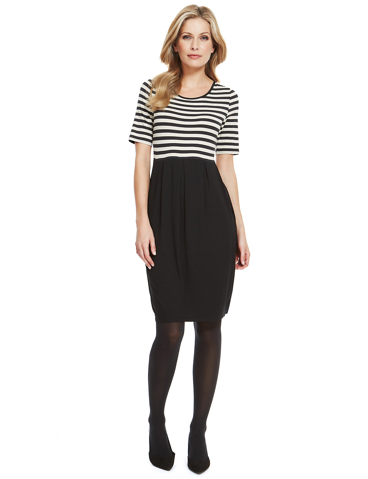 M & S Collection Striped Pleated Bodice Shift Dress