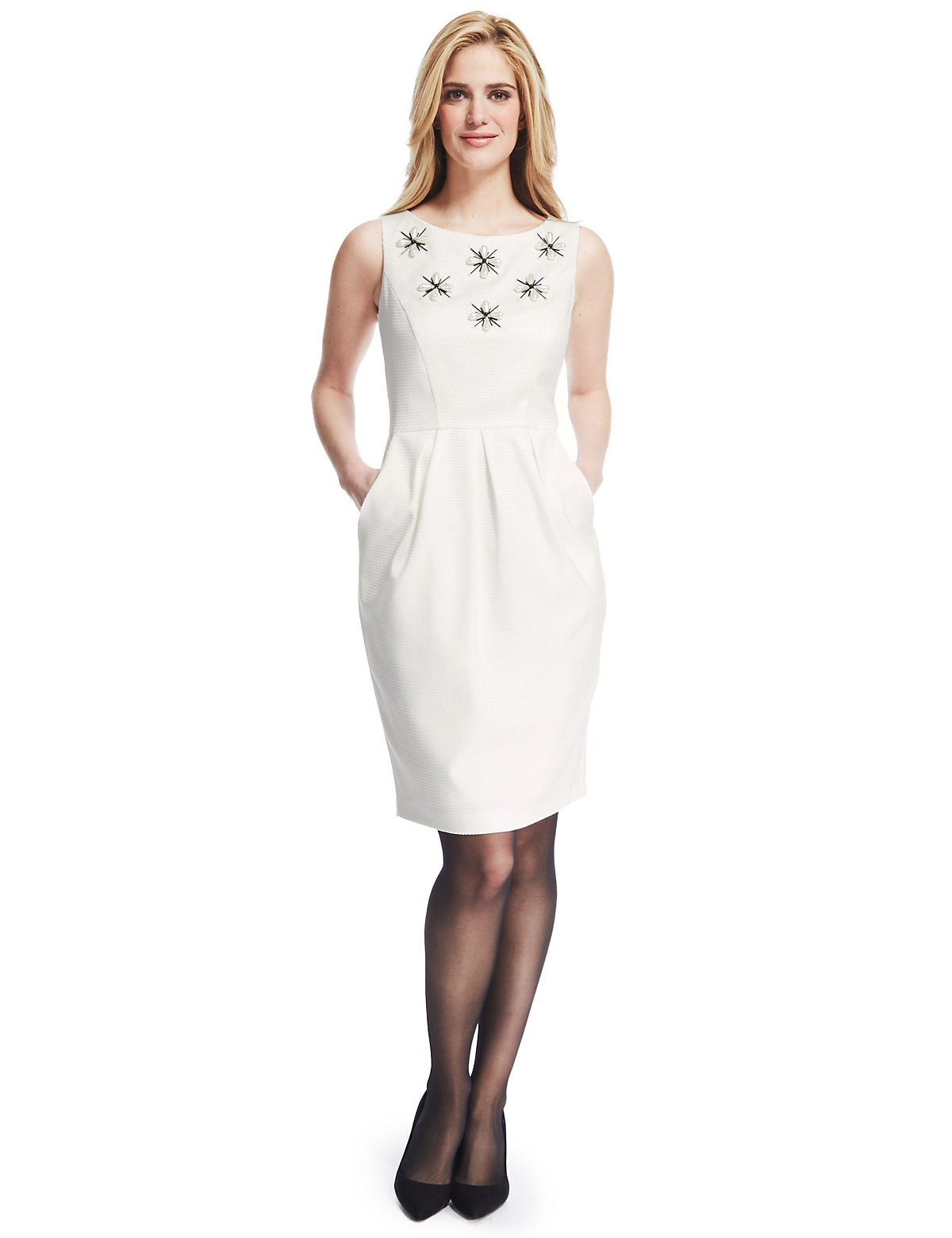 M & S Collection Textured Pearl Tulip Bodice Shift Dress