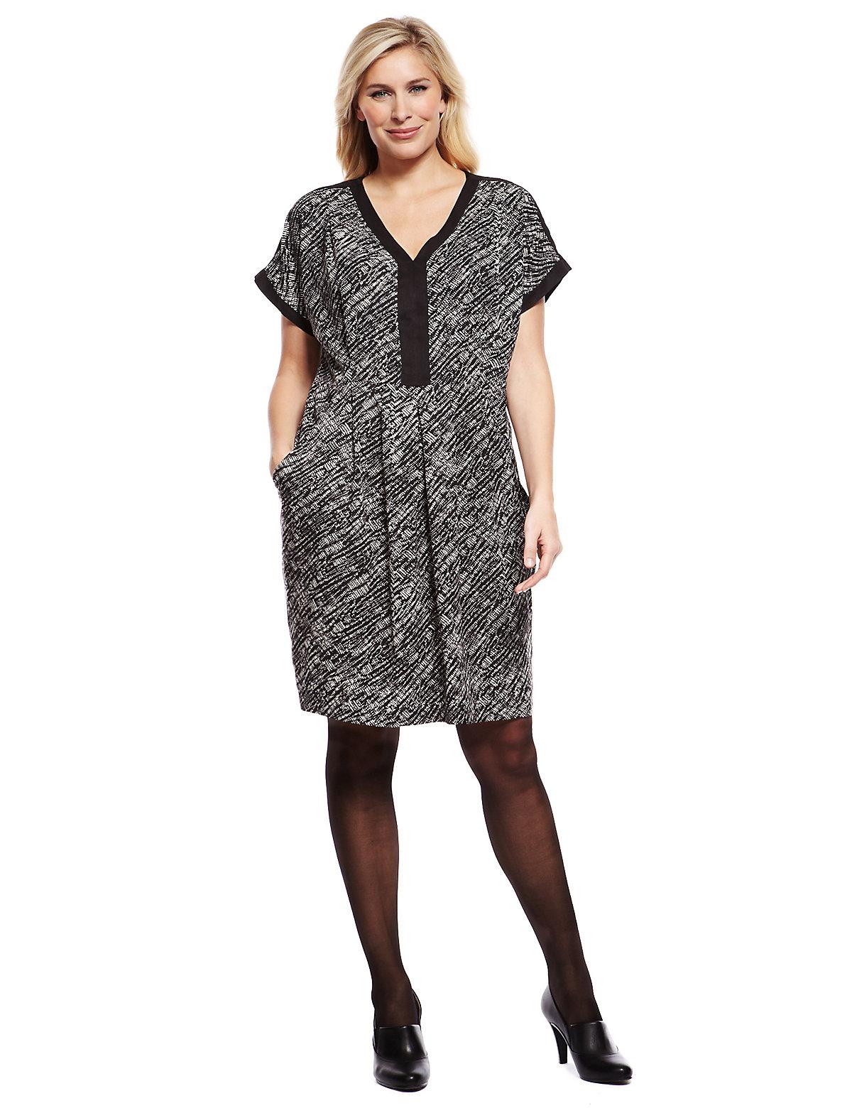 M & S Collection Plus Mono Brush Print Shift Dress