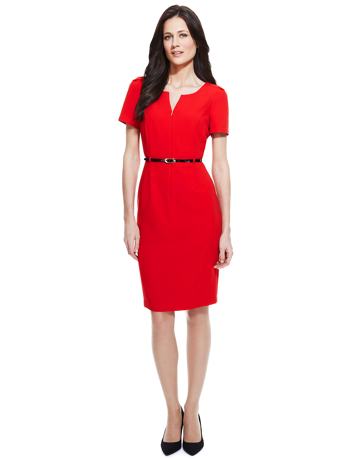 M & S Collection Zip Front Shift Dress with Belt
