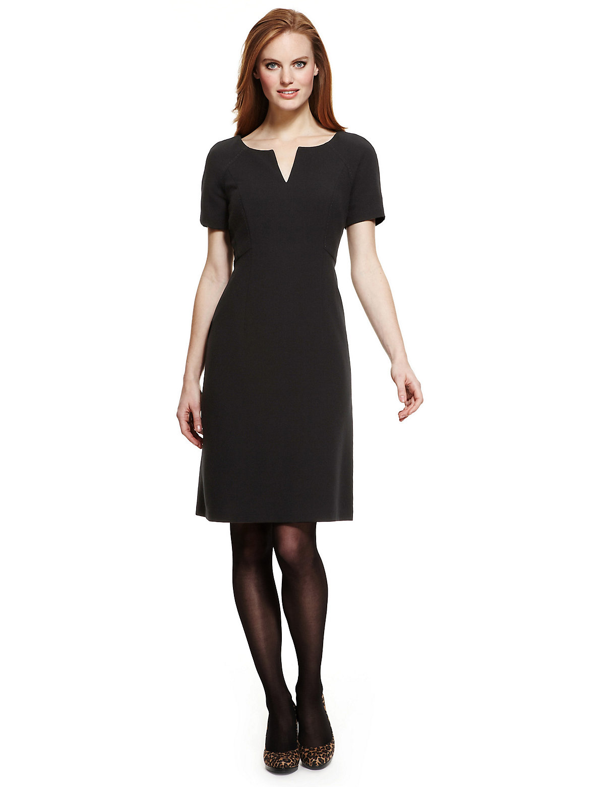 M & S Collection Notched Round Neck Double Crepe Dress