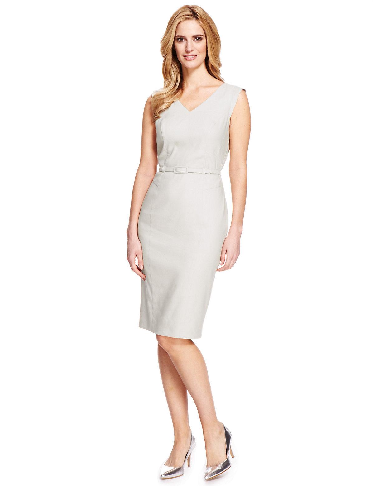 M & S Collection Linen Blend Shift Dress with Belt