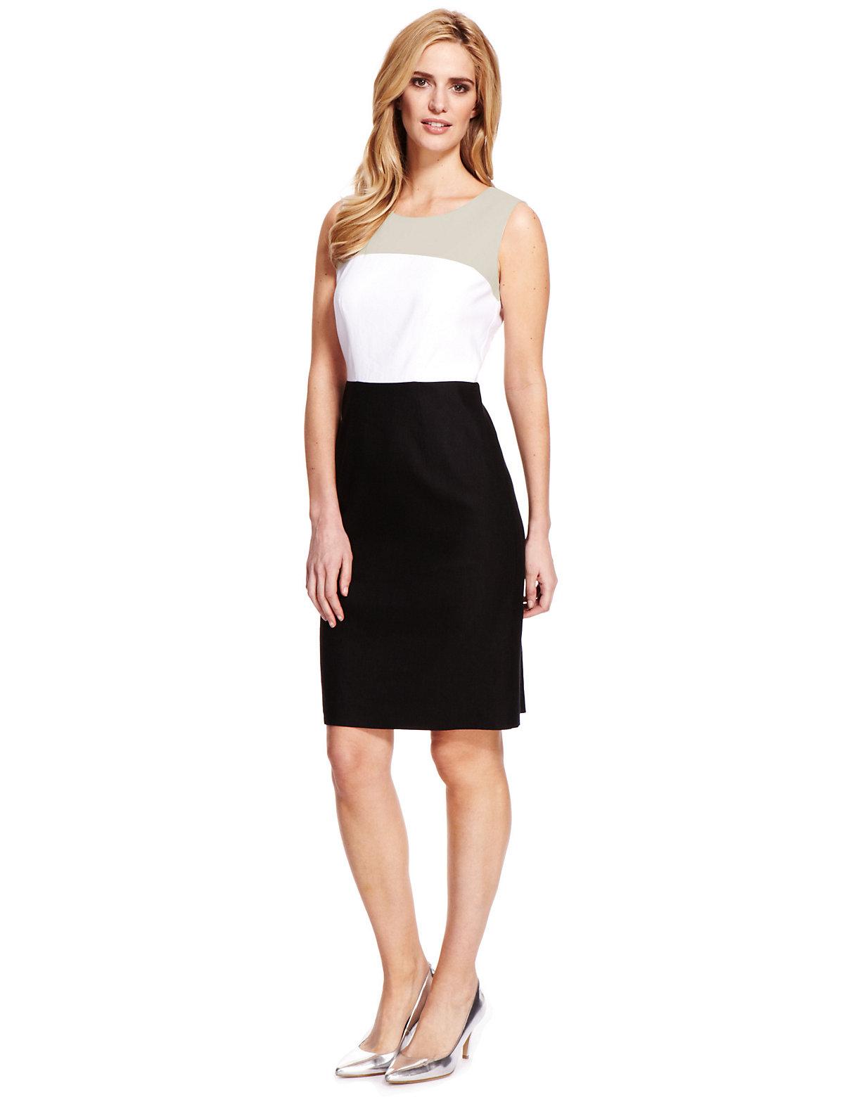 M & S Collection Linen Blend Colour Block Shift Dress