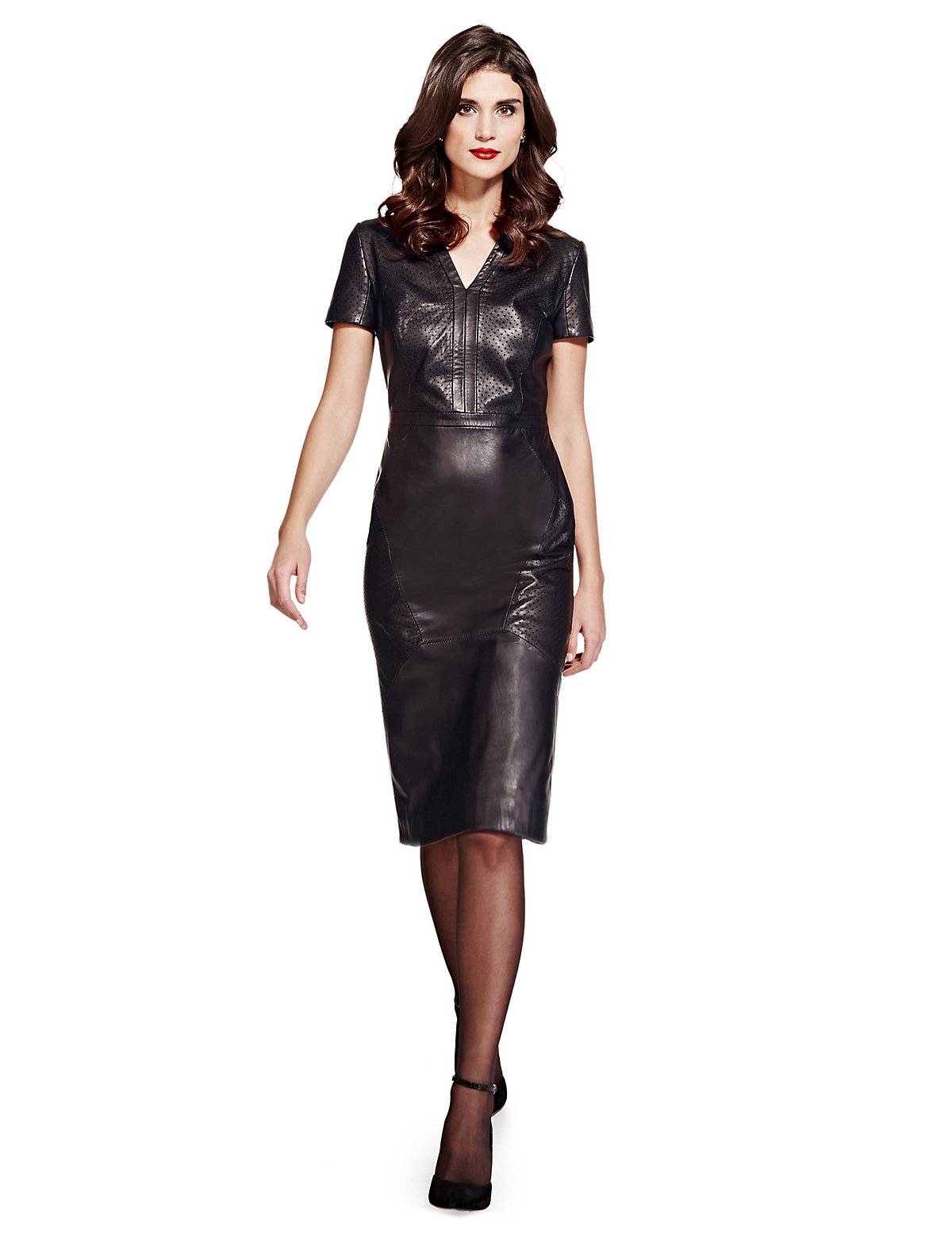 Per Una Speziale Leather Perforated Panelled Shift Dress