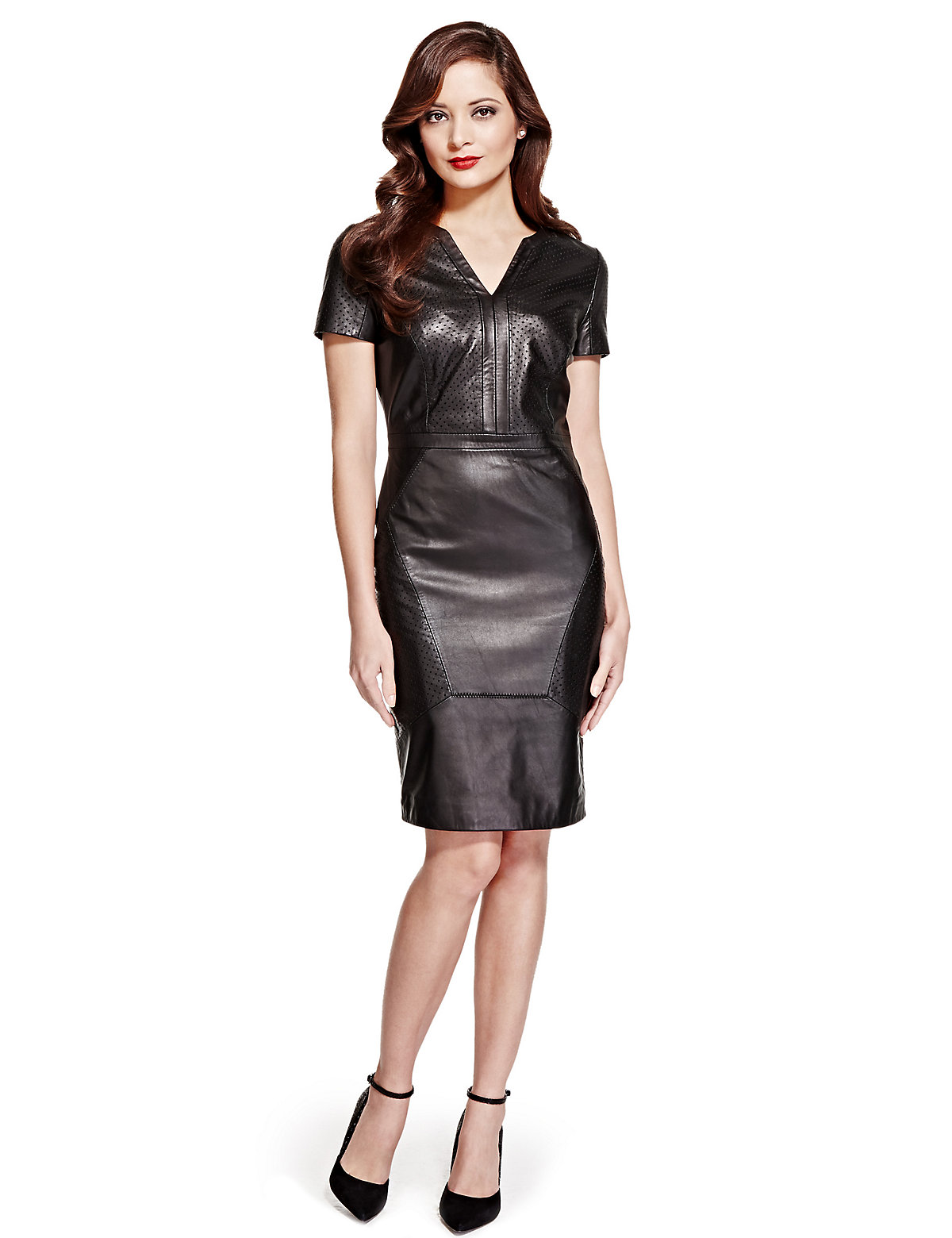 Per Una Speziale Petite Leather Perforated Panelled Shift Dress