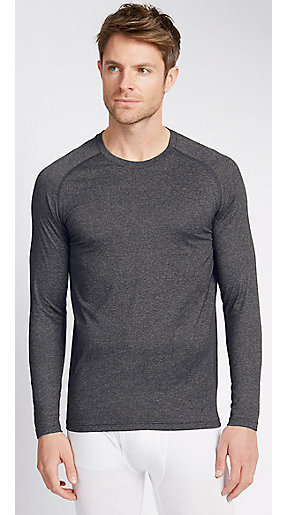 Man wearing grey t-shirt top