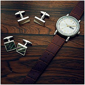 Cufflinks and watch
