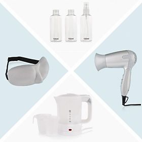 Travel hairdryer, 100ml bottles & travel adapter