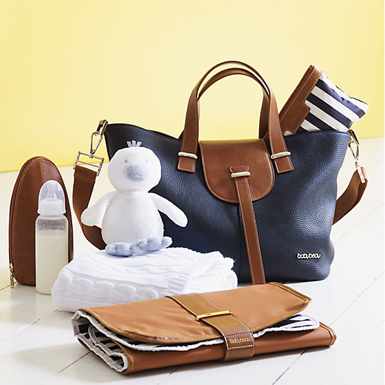 Brown and navy leather changing bag and purse 4a6b483d8d55