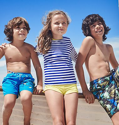 Children wearing swimwear from our holiday collection