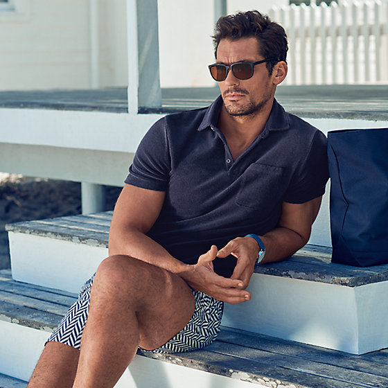 46a3eab725 David Gandy wearing towelling mens polo shirt with new beachwear collection