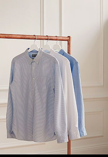 Men's Oxford shirts on a rail