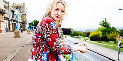 Lauren Laverne wears a Marks & Spencer per una bomber jacket