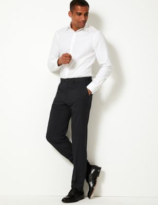 Regular Fit Flat Front Trousers   M&S Collection   M&S