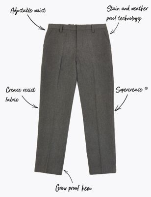 Boys School Uniform Generous//Sturdy//Relaxed//Plus Fit Trousers with Elastic Back