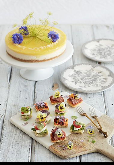 Lemon ricotta cheesecake and Italian antipasto party canapés