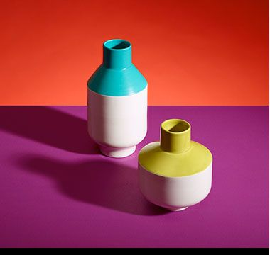 Yellow and blue ceramic vases
